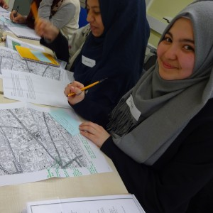 Young people researching trail