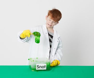 Boy doing snot demonstration